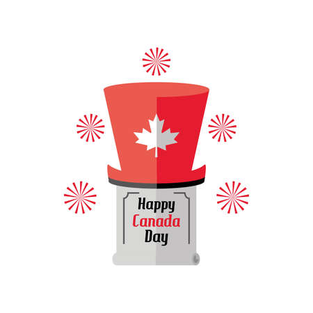 happy canada day with top hat and decoration vector illustration design 일러스트