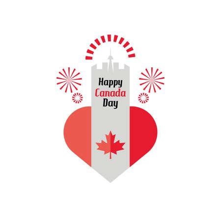 happy Canada day, Canadian flag, maple leaf vector illustration design 일러스트