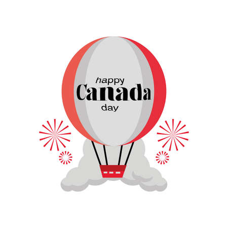 happy Canada day with hot air balloon vector illustration design