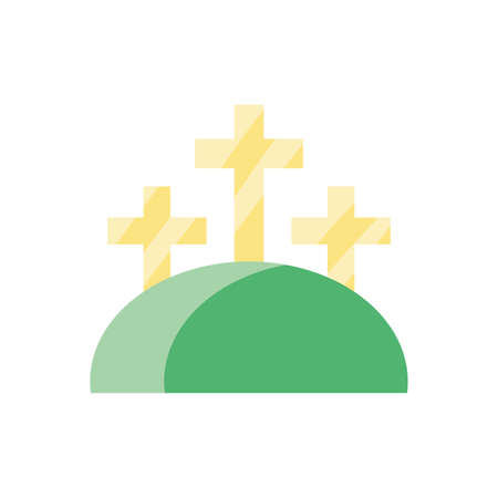 mountain with three crosses over white background, colorful and flat style design, vector illustration  イラスト・ベクター素材