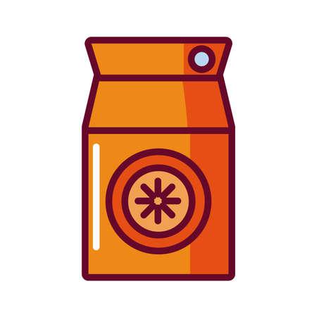 orange juice box icon over white background, fill style icon, vector illustration