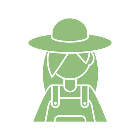 cartoon woman gardener icon over white background, silhouette style, vector illustration