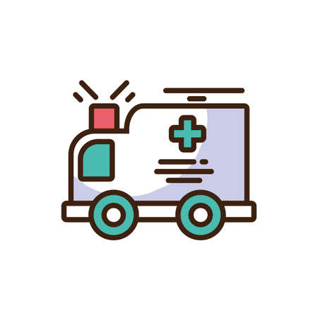 cartoon ambulance icon over white background, colorful fill style, vector illustration design