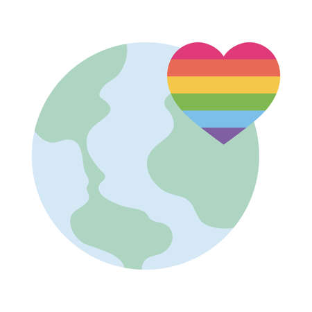 lgtbi heart and world flat style icon design, Pride day sexual orientation and identity theme Vector illustration