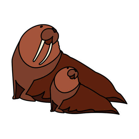 walrus with cub on a white background vector illustration design  イラスト・ベクター素材