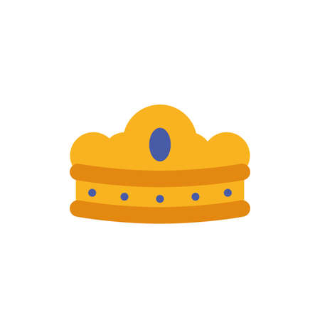 King blue and gold crown design, Prince royal luxury jewelry kingdom insignia emperor authority and coronation theme Vector illustration