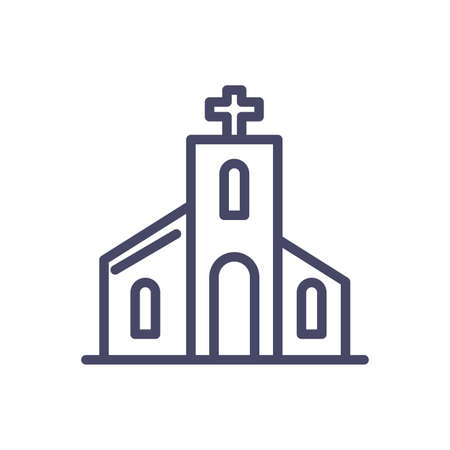 catholic church over white background, line style icon, vector illustration