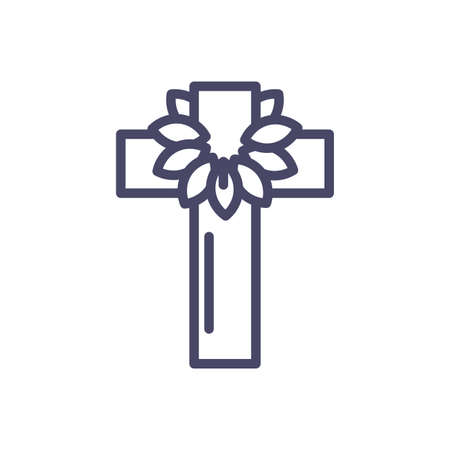 catholic cross with leaves crown over white background, line style icon, vector illustration