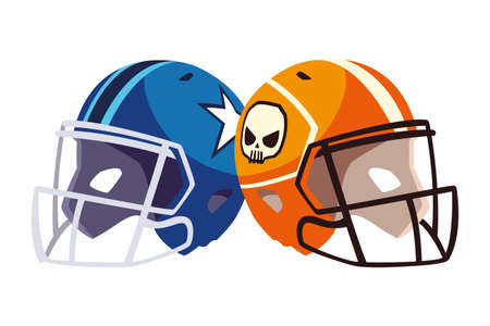 american football helmets on white background vector illustration design