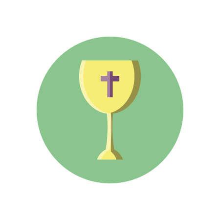 catholic wine glass over white background, block style icon, vector illustration