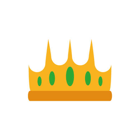Queen green and gold crown design, Princess royal luxury jewelry kingdom insignia emperor authority and coronation theme Vector illustration