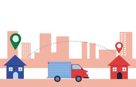 package delivery with door-to-door location vector illustration desing Vecteurs
