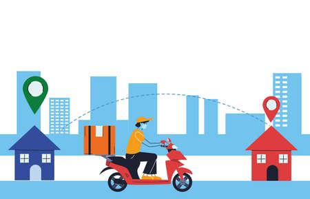 package delivery with door-to-door location vector illustration desing