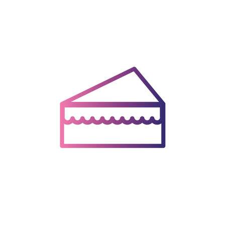 portion of birthday cake,gradient style icon vector illustration design