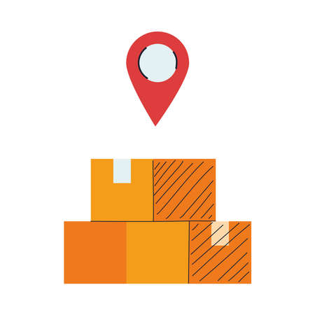 location of merchandise and packages vector illustration design