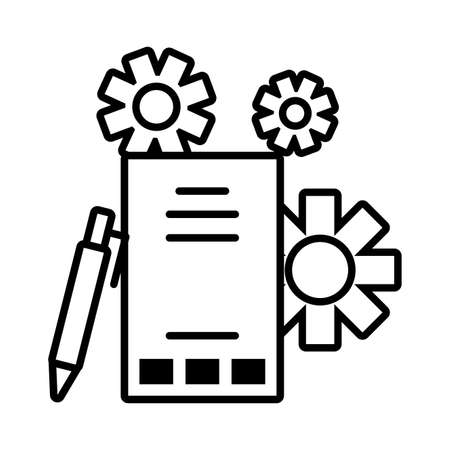 reports with digital objects in white background vector illustration design