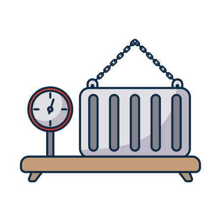 industrial cargo weight scale with container on white background vector illustration design