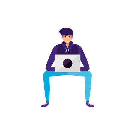 young man using laptop computer vector illustration design Иллюстрация