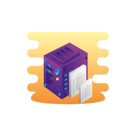 server data center with documents files vector illustration design