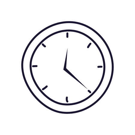 wall clock , line style icon vector illustration design