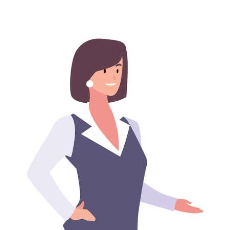 businesswoman smiling on white background vector illustration design Vectores