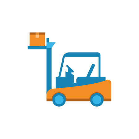 Box over forklift design, Delivery logistics transportation shipping service warehouse industry and global theme Vector illustration Ilustracja