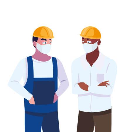 civil engineers with pollution masks vector illustration design