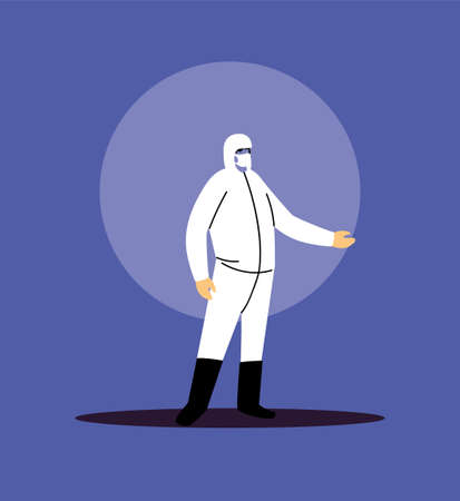 man with biosecurity suit in covid-19 prevention vector illustration desing Vektorové ilustrace