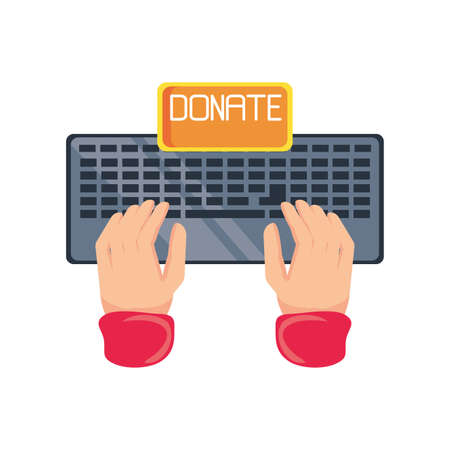 keyboard with hands to donate on white background vector illustration design Illustration