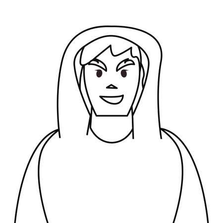hacker man character thief vector illustration design outline