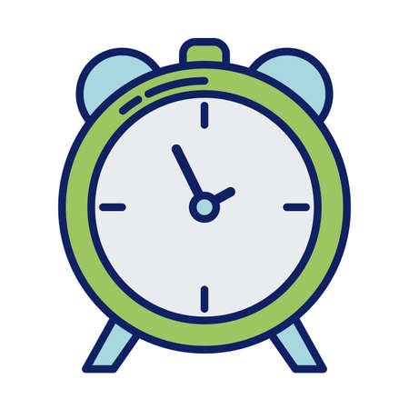 alarm clock, line and fill style icon vector illustration design