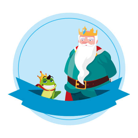 king with toad prince characters vector illustration design Vectores
