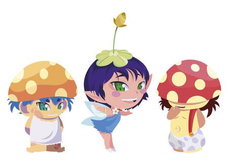 beautiful magic fairies with fungi elf characters vector illustration design