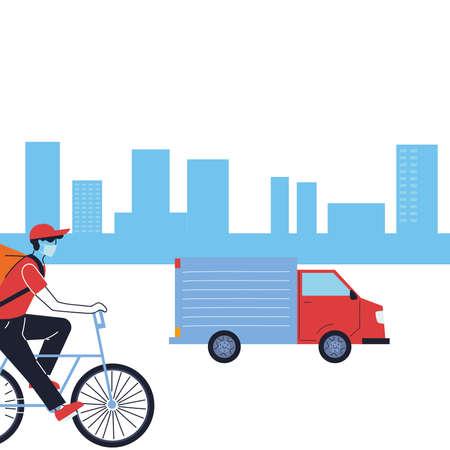 Kurier mit Maske und Transportfahrzeug für die Lieferung von Vektorgrafiken