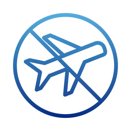 airplane , passenger plane with prohibition sign , suspension of air traffic, stop aviation, degraded line style icon vector illustration design