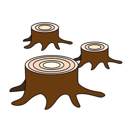 tree stumps showing deforestation on white background vector illustration design Illustration