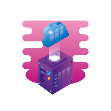 server data center with cloud computing vector illustration design Vectores