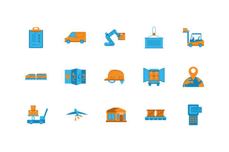 Icon set design, Delivery logistics transportation shipping service warehouse industry and global theme Vector illustration Ilustracja