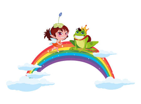 beautiful magic fairy with toad prince and rainbow vector illustration design