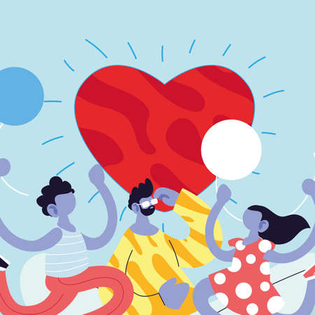 Father son and daughter cartoon with balloons and heart design, Family relationship and generation theme Vector illustration Stock Illustratie