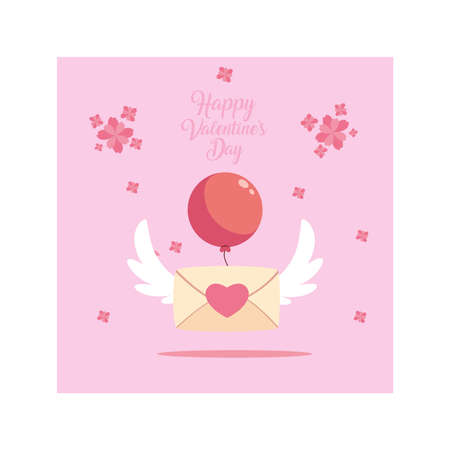 envelope with helium balloons , valentines day card vector illustration design