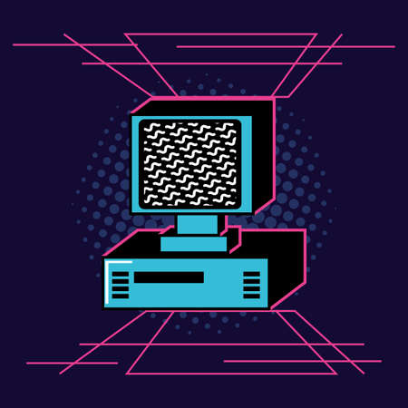 computer desk of nineties retro vector illustration design