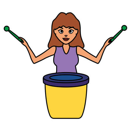 woman playing carnival bongo instrument vector illustration design Ilustrace