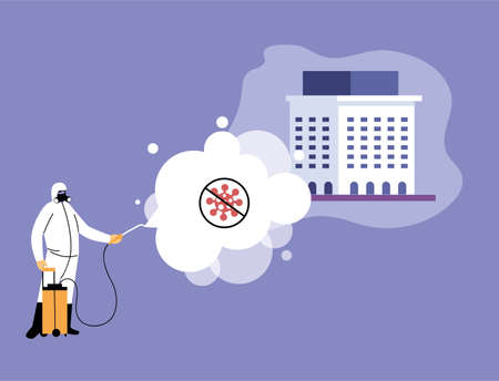 man in suits disinfecting institution by covid 19 vector illustration desing