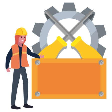 woman builder board tools labour day vector illustration Stock Illustratie