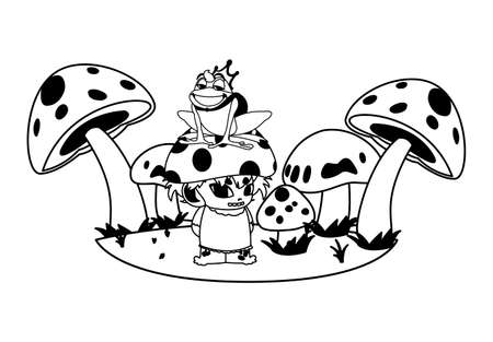 toad prince and fungi elf in garden vector illustration design