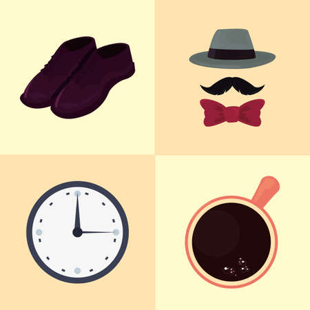 happy fathers day set shoes clock cup hat mustache vector illustration