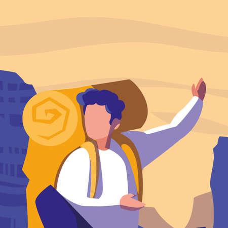 young man in desert landscape dry scene vector illustration design