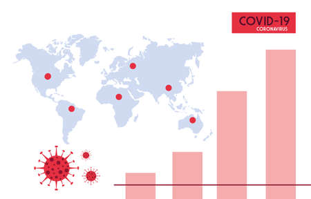 infographic from world planet with the propagation of the covid 19 by countries vector illustration design