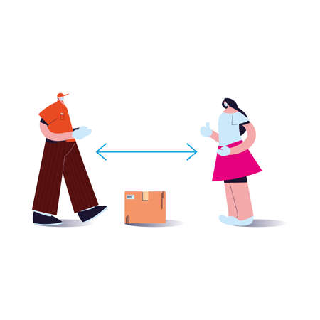 couple wearing face masks delivering packages with distance rules vector illustration desing